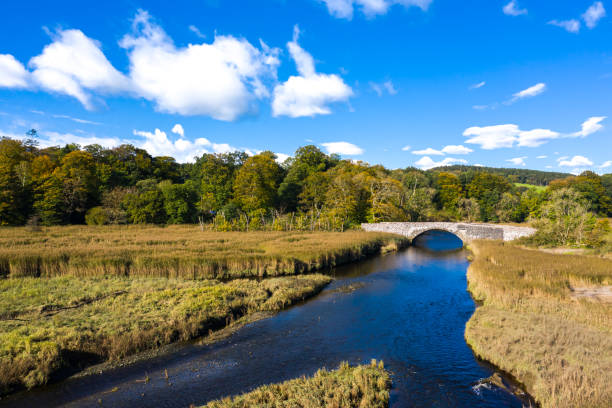 High angle view of an old stone bridge crossing a small river in Dumfries and Galloway south west Scotland The view from a drone of an old stone bridge crossing a small river that flows into an estuary in Dumfries and Galloway, south west Scotland. johnfscott stock pictures, royalty-free photos & images