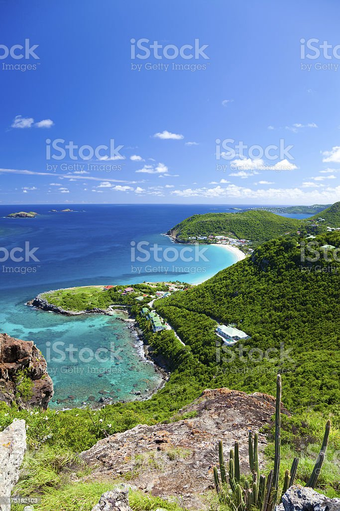 high angle view of Anse des Flamands, St. Barths, FWI stock photo