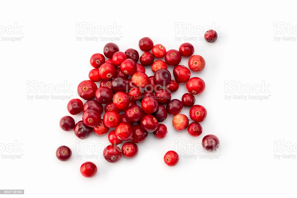 high angle view of arrangement of Cranberries on white stock photo