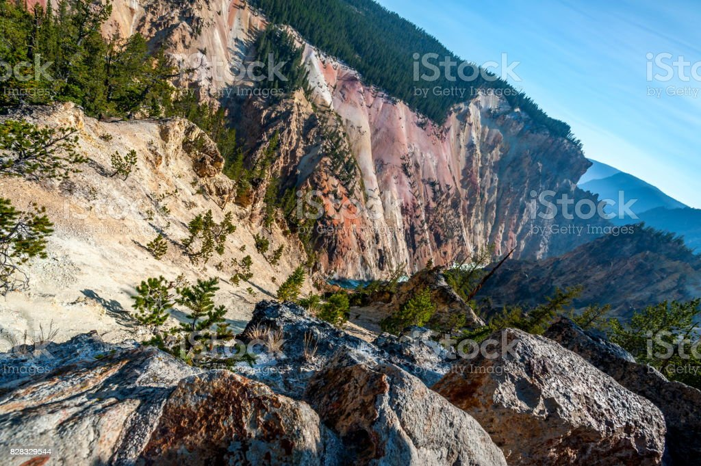 High Angle View of Artist Point in Yellowstone National Park, Wyoming-USA stock photo