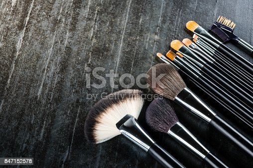 847152782 istock photo high angle view of beauty makeup cosmetic brush 847152578