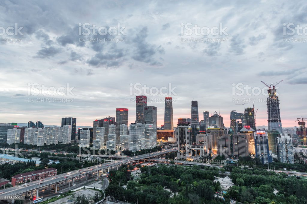 High angle view of Beijing Central Business District, Day royalty-free stock photo