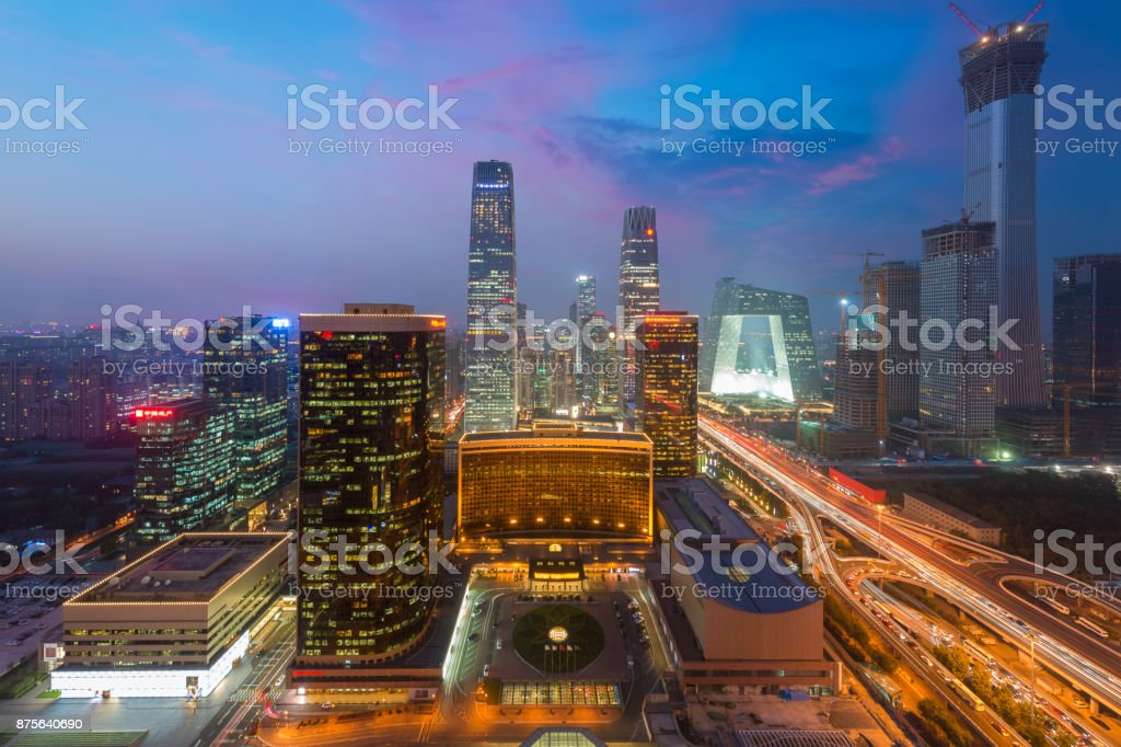 High angle view of Beijing Central Business District  skyscrapers building at night in Beijing ,China. stock photo
