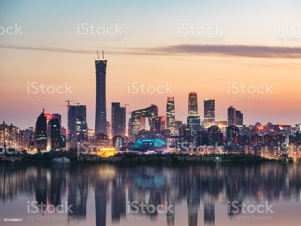 High angle view of Beijing Skyline at Dusk stock photo