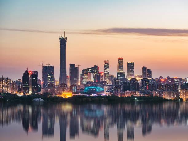 北京の高角度のビュー夕暮れの街並み - 北京 ストックフォトと画像