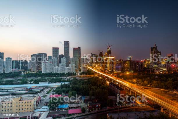 Photo of High angle view of Beijing Skyline, Day to Night Transition