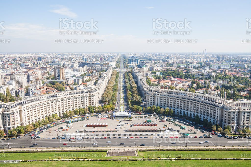 High angle view of Bucharest stock photo