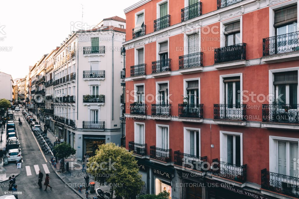 High angle view of buildings in Chueca district in Madrid stock photo