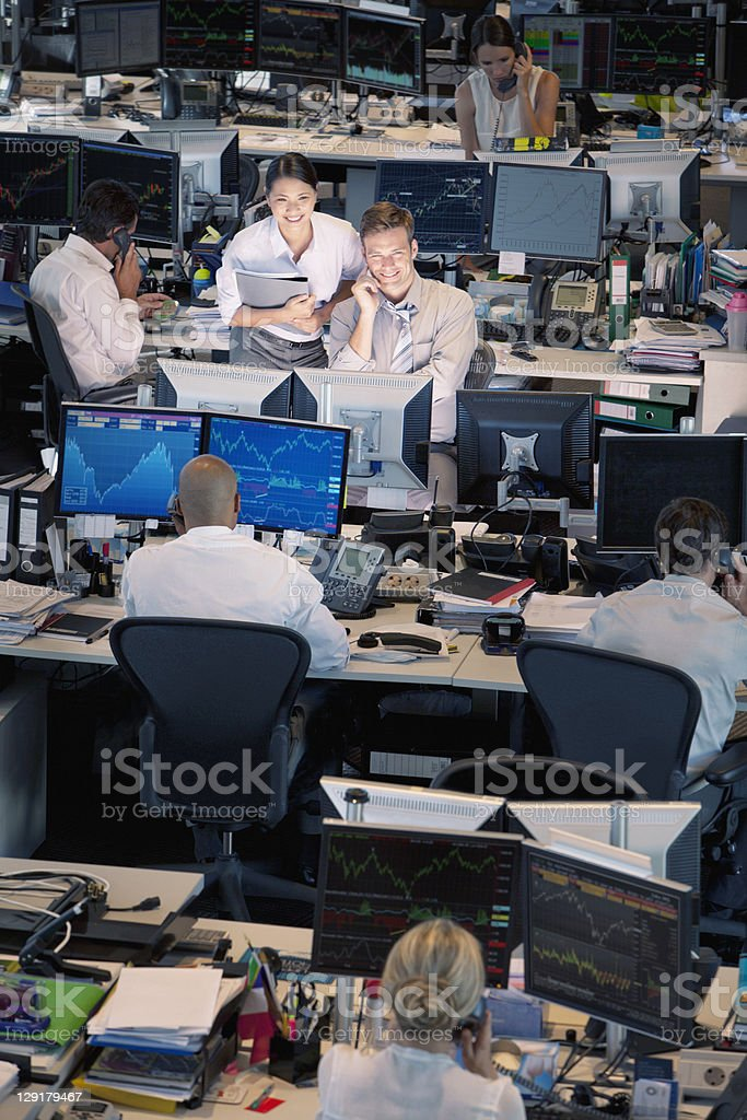 High angle view of business people in office stock photo