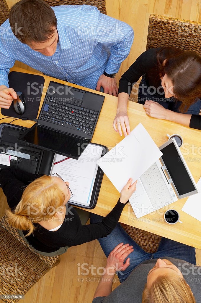 High angle view of business team in a meeting royalty-free stock photo