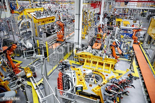 182463664 istock photo High angle view of car production line 916875584