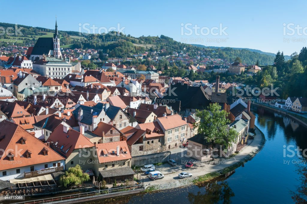 High angle view of Cesky Krumlov stock photo