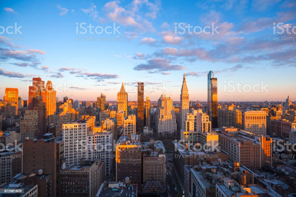 High Angle View of Chelsea, Manhattan at Sunset stock photo