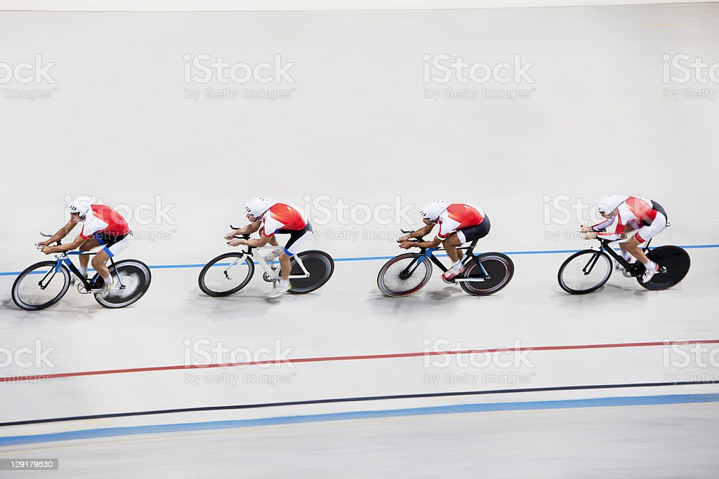 High angle view of competitors in bicycle race stock photo
