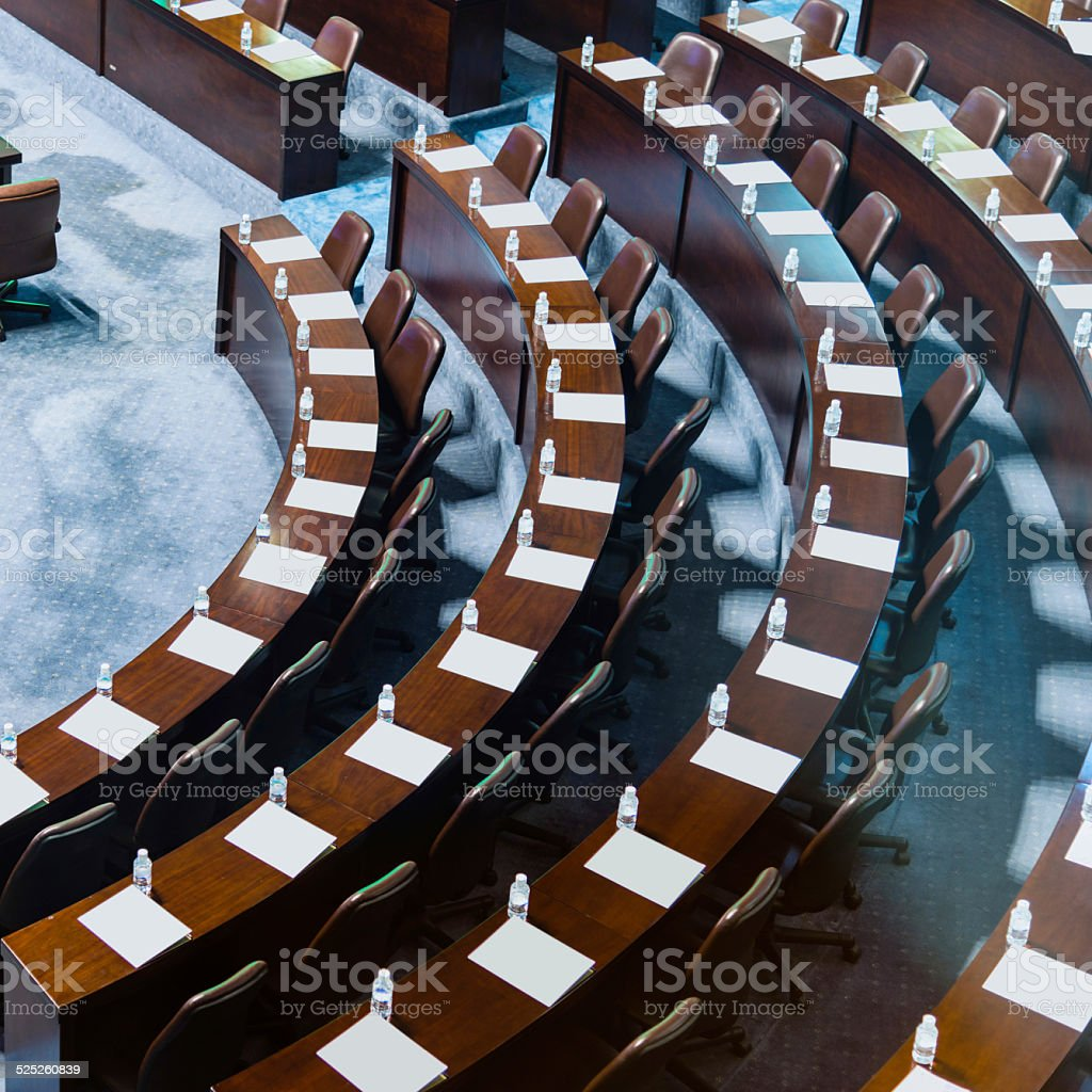 high angle view of conference hall stock photo