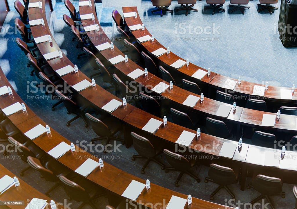 High angle view of conference hall setup stock photo