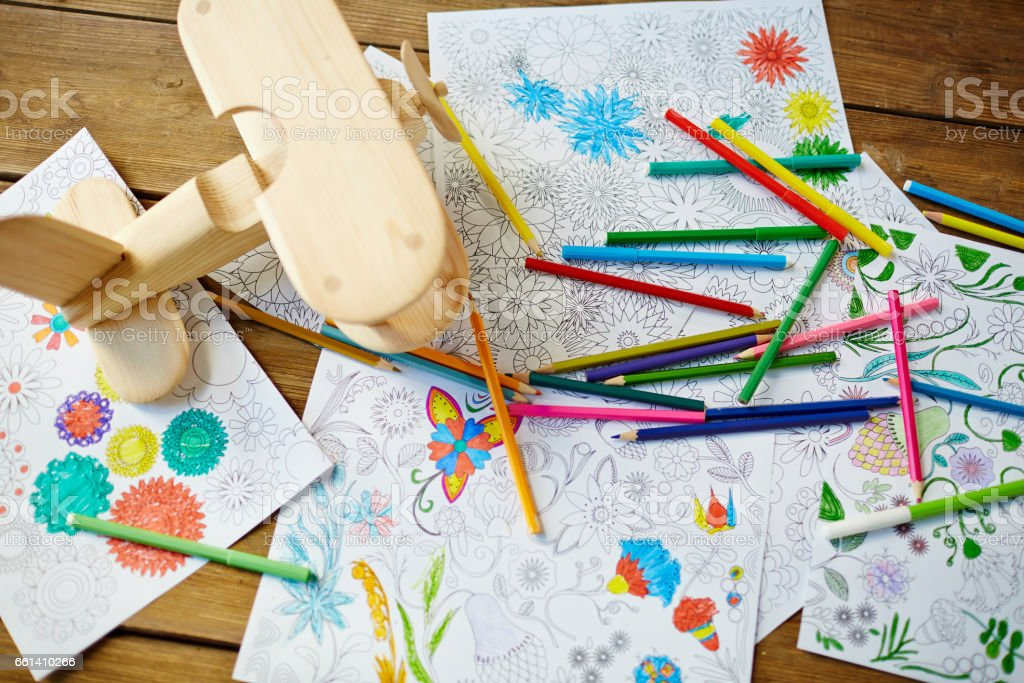 High angle view of desk at art class stock photo