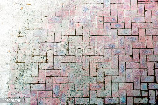 High angle view of old dirty paving, background with copy space, full frame horizontal composition