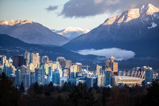 High angle view of downtown Vancouver stock photo