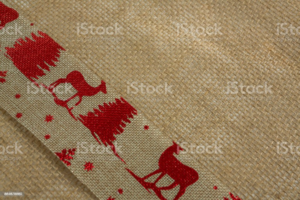 High angle view of embroidered burlap stock photo