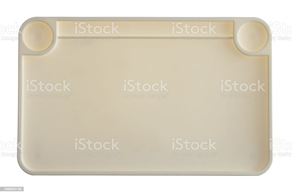 High Angle View of Empty Plastic Tray stock photo