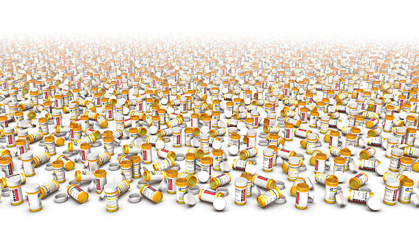 high angle view of endless pill bottles (bottom blank) - amfetamin pills bildbanksfoton och bilder