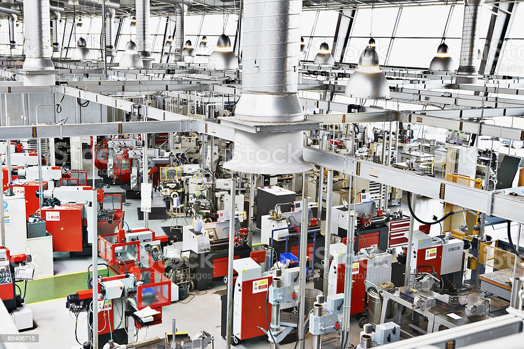 High angle view of factory floor stock photo