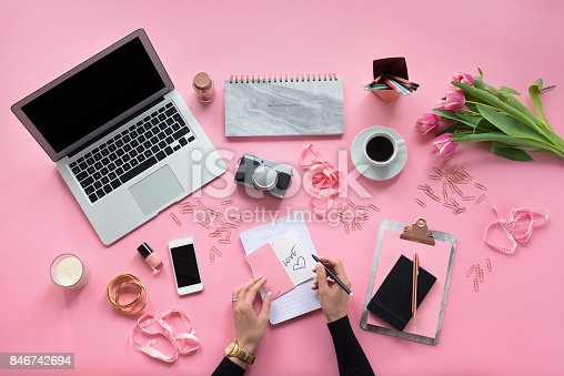 istock High angle view of female blogger table 846742694