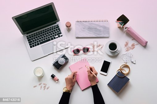 istock High angle view of female blogger table 846743016