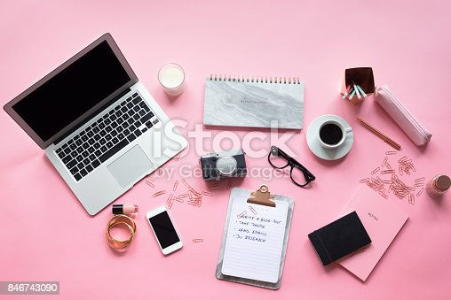 istock High angle view of female blogger table 846743090