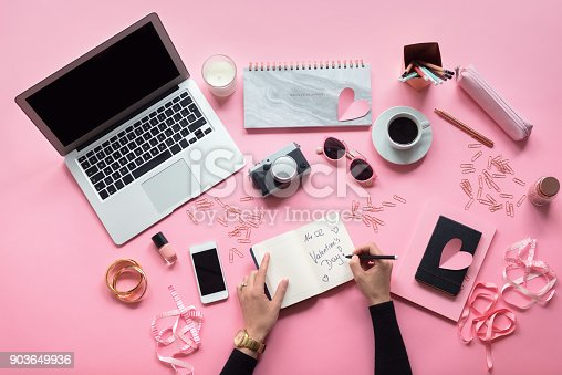 istock High angle view of female blogger table 903649936