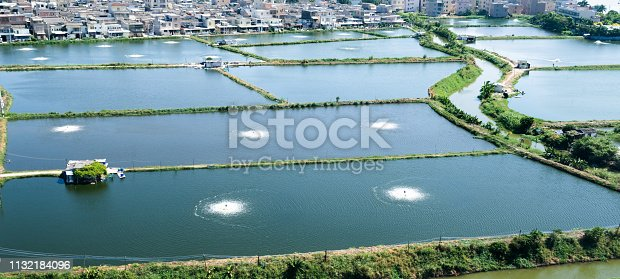High angle view of fish farming in China.