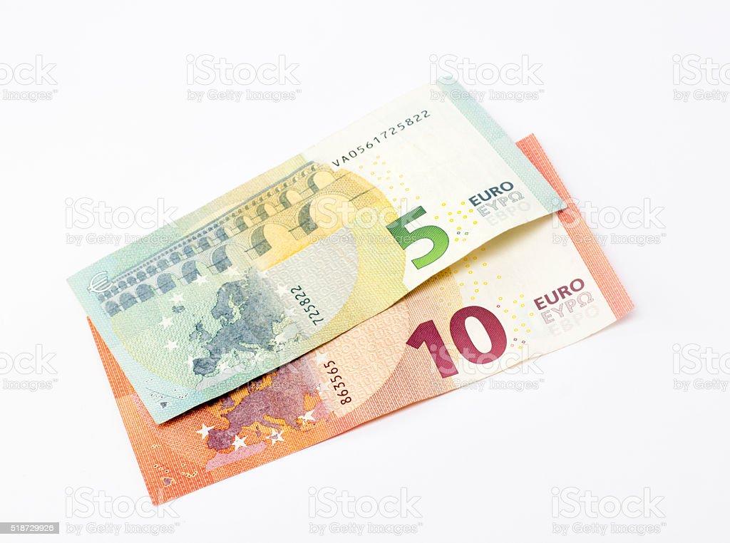 Hohe Winkelansicht der fünf und zehn euro-Banknoten – Foto