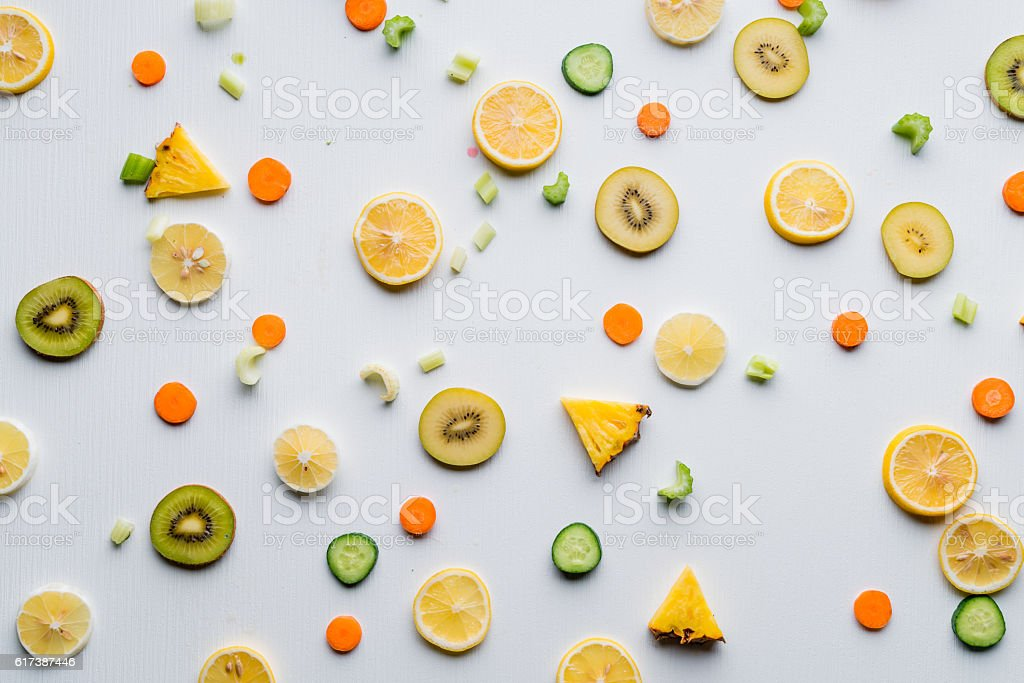 High angle view of fruit slices stock photo