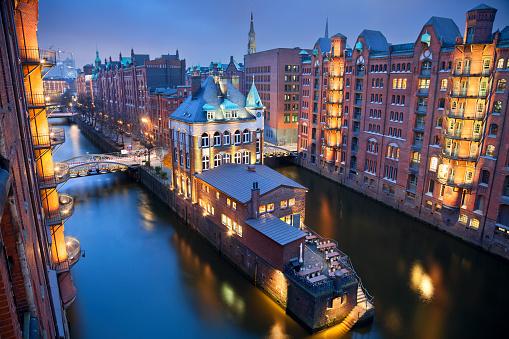 High angle view of Hamburg-Speicherstadt at night