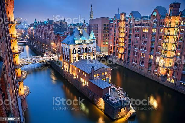 Photo of High angle view of Hamburg-Speicherstadt at night