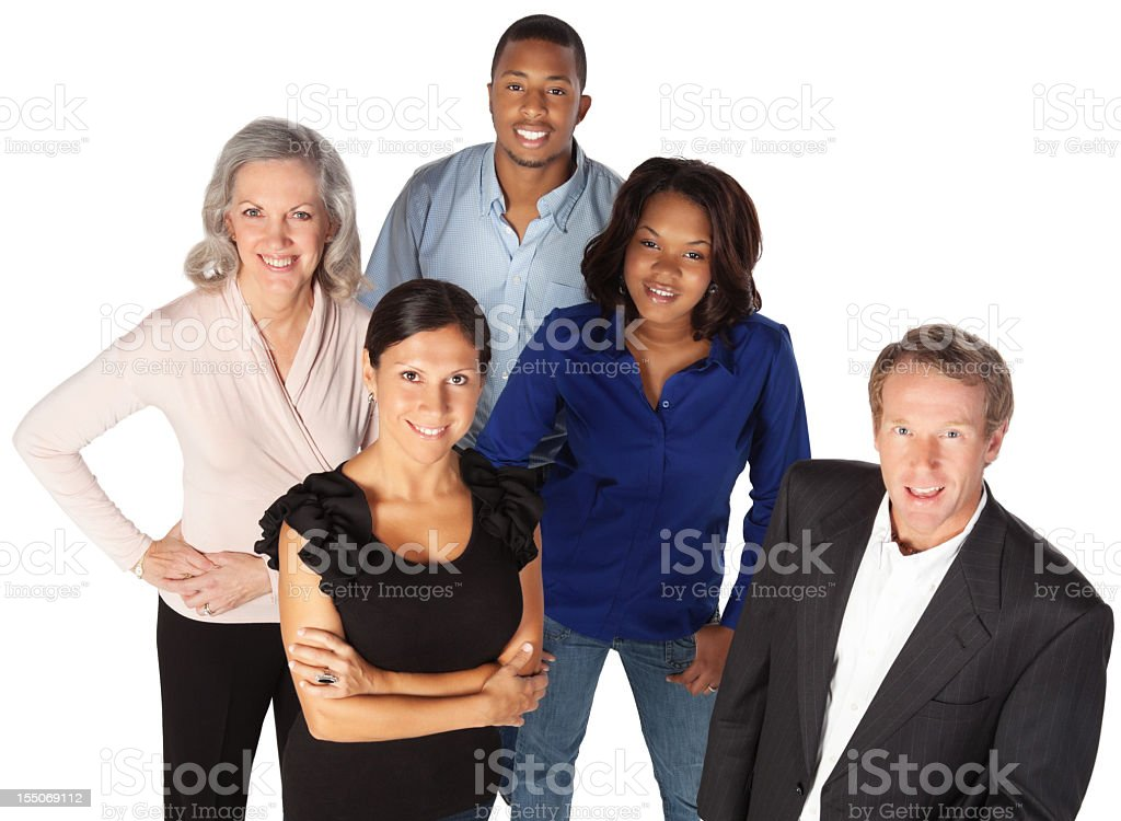 High Angle View of Happy Business People royalty-free stock photo