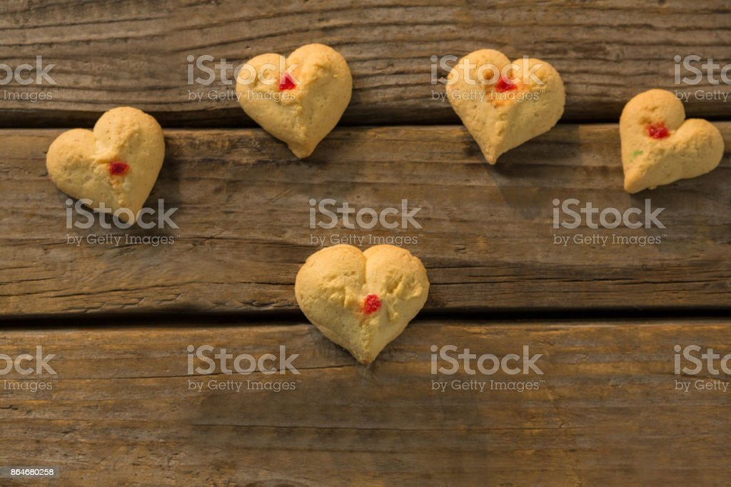 High angle view of heart shaped cookies on table stock photo