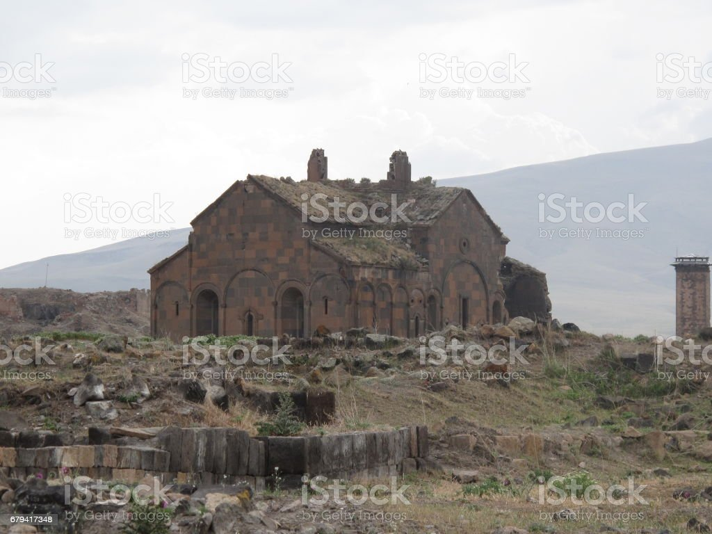 High angle view of Kars city. Kars is a city in northeast Turkey and the capital of Kars Province. royalty-free stock photo