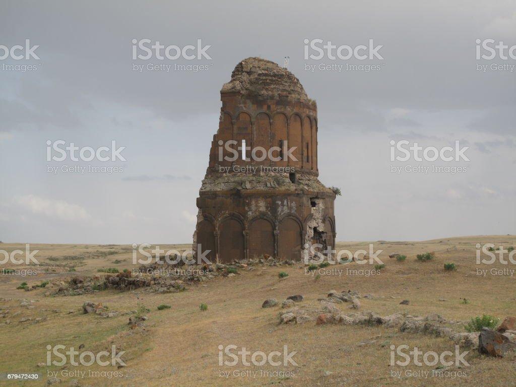 高角度視圖的卡爾斯市。卡爾斯是土耳其東北和卡爾斯省的省會城市。 免版稅 stock photo