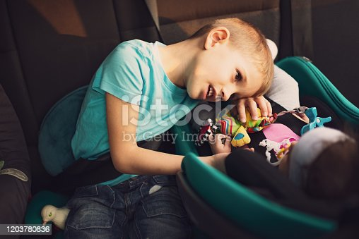 639770050 istock photo High angle view of kids traveling by car 1203780836