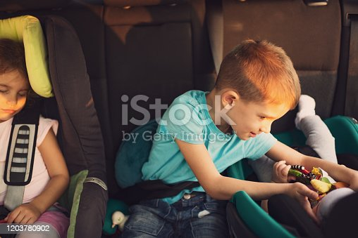 639770050 istock photo High angle view of kids traveling by car 1203780902
