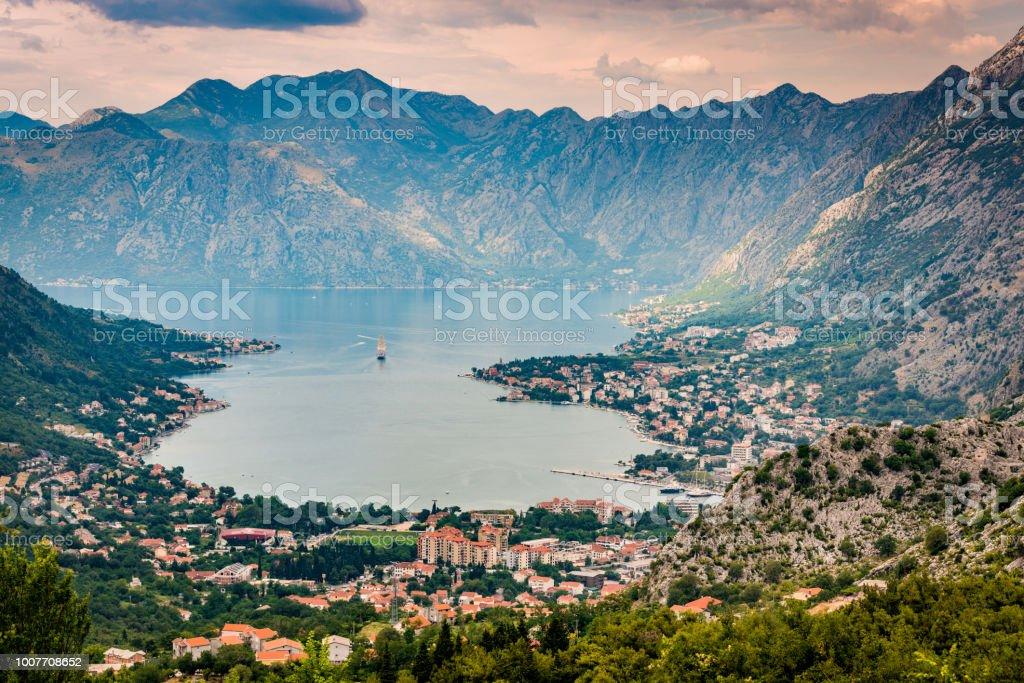 High angle view of Kotor bay stock photo