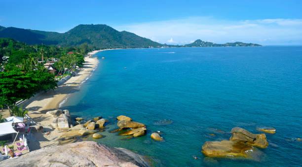 High angle view of Lamai beach at Koh Samui stock photo