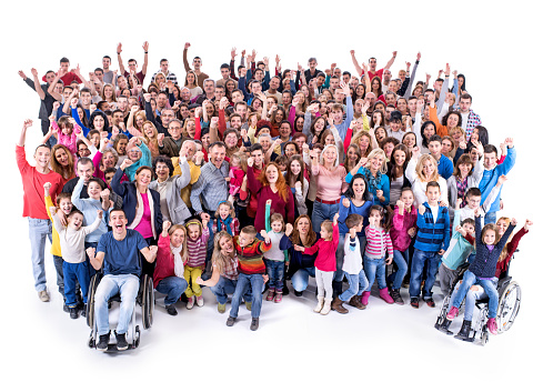 High angle view of happy crowd with their hands raised an looking at the camera. Two of them are in a wheelchair. Isolated on white.