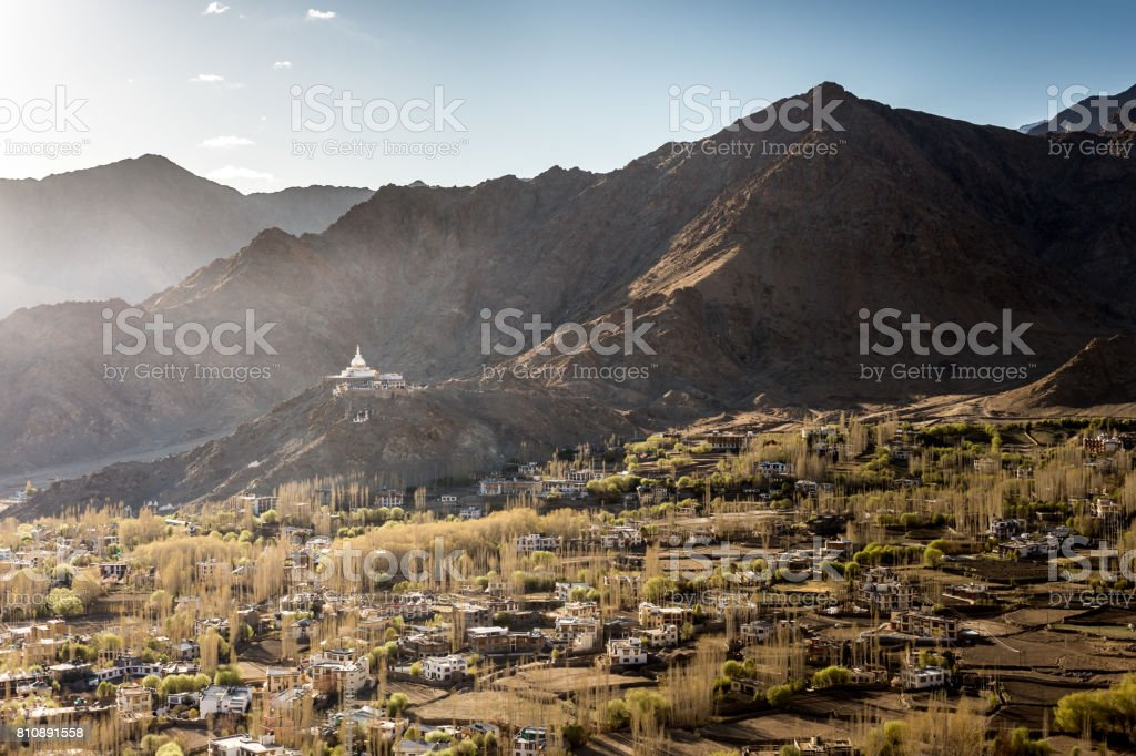 High angle view of Leh city and Shanti Stupa.