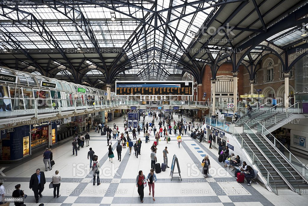 High Angle View of Liverpool Street Station in London royalty-free stock photo