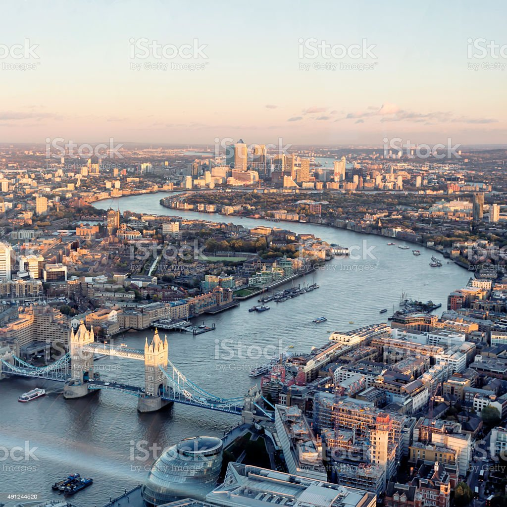 High angle view of London skyline at sunset stock photo