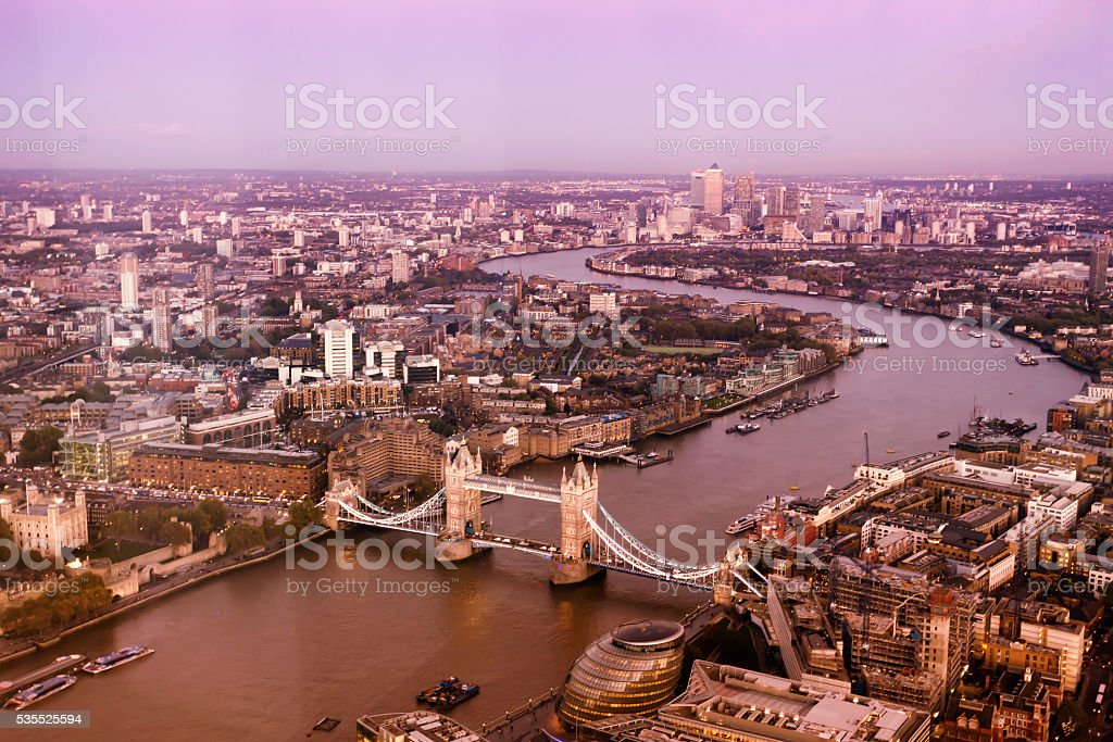 High angle view of London skyline in a pink sunset stock photo