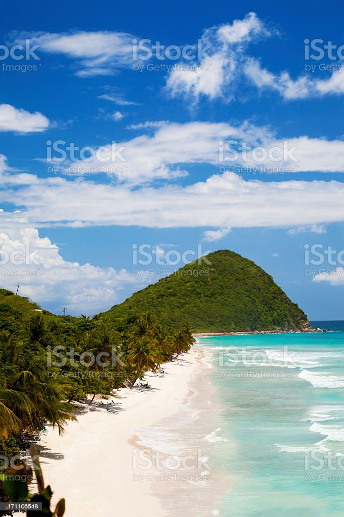 high angle view of Long Bay in Tortola, BVI stock photo